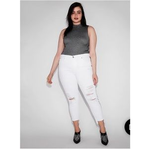 Express Side Stripe Ripped Cropped Jeggings NWT 18